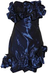 Notte By Marchesa Ruffled Satin Dress - Lyst