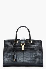 Saint Laurent Black Genuine Alligator Leather Chyc Tote - Lyst