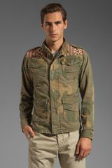 Scotch & Soda Army Jacket in Greenred - Lyst