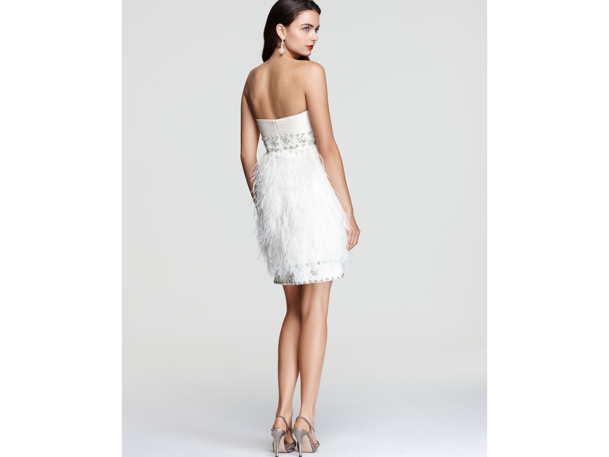 6b753c1bd91d Sue Wong Strapless Feather Dress in White - Lyst