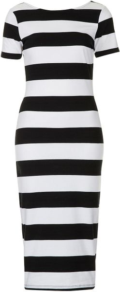 Topshop Big Stripe Midi Dress - Lyst