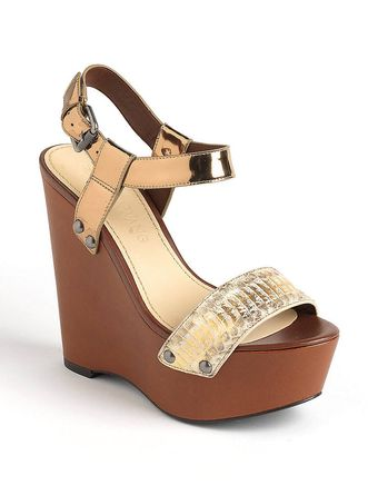Vera Wang Jamaya Leather Platform Wedge Sandals - Lyst