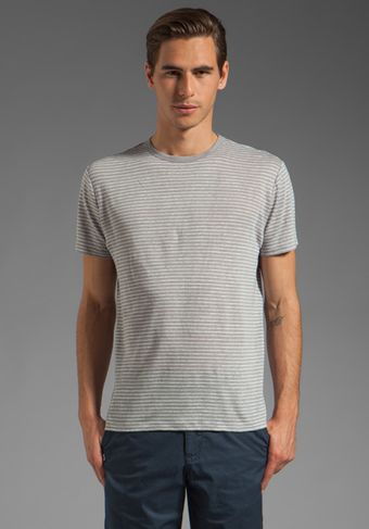 Vince Striped Linen Tee in Sliver Finecru - Lyst