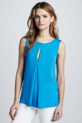 Halston Heritage Sleeveless Top with Color Block Front Slit - Lyst