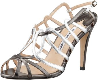 Manolo Blahnik Porzio Metallic Leather Sand - Lyst