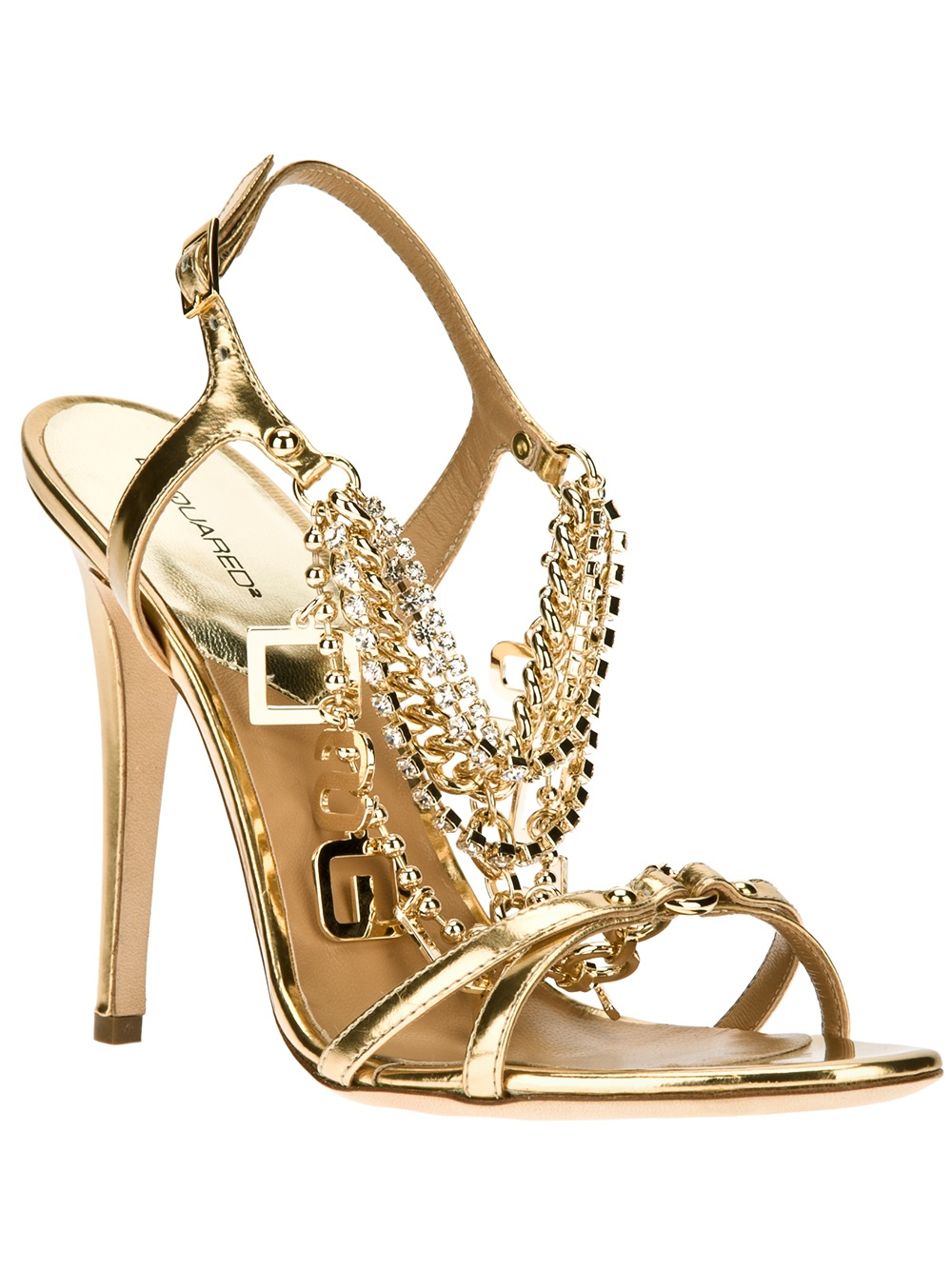 Dsquared2 Chain Detailed Sandal In Gold Lyst