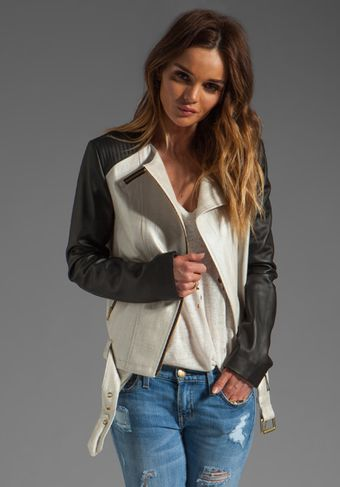 Mackage Belle Distressed Leather Jacket in Bone - Lyst
