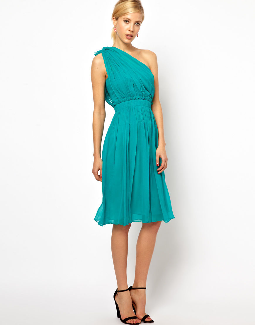Mango Chiffon Drape One Shoulder Silk Dress