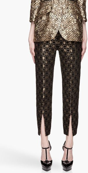 Alexander McQueen Black and Gold Honeycomb Jacquard Slit Front Trousers - Lyst