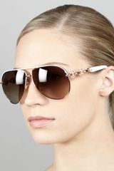 Gucci Crystaltemple Aviator Sunglasses - Lyst