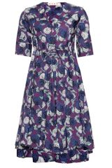 Marni Print Dress with Ruched Waist - Lyst