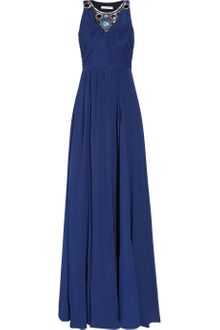 Matthew Williamson Embellished Crinkled Chiffon Gown - Lyst