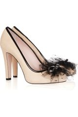 RED Valentino Tulleembellished Leather Pumps - Lyst