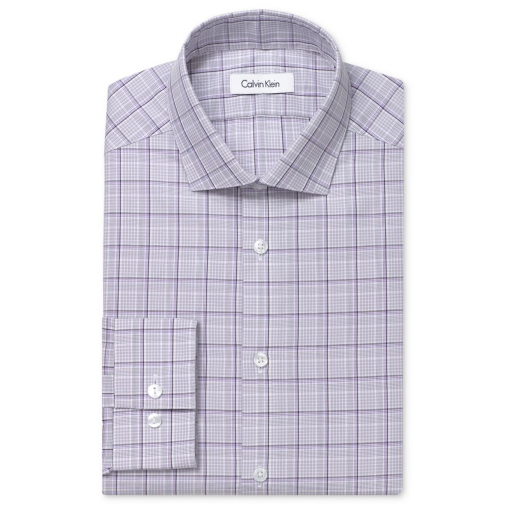 Lyst Calvin Klein Steel No Iron Grey Pearl Box Check Long Sleeve Burberry London For Men Non Gallery