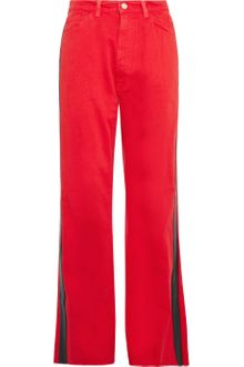Christopher Kane Leather Trimmed Boyfriend Fit Jeans - Lyst