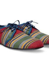Dolce & Gabbana Striped Canvas Leathersoled Derby Shoes - Lyst