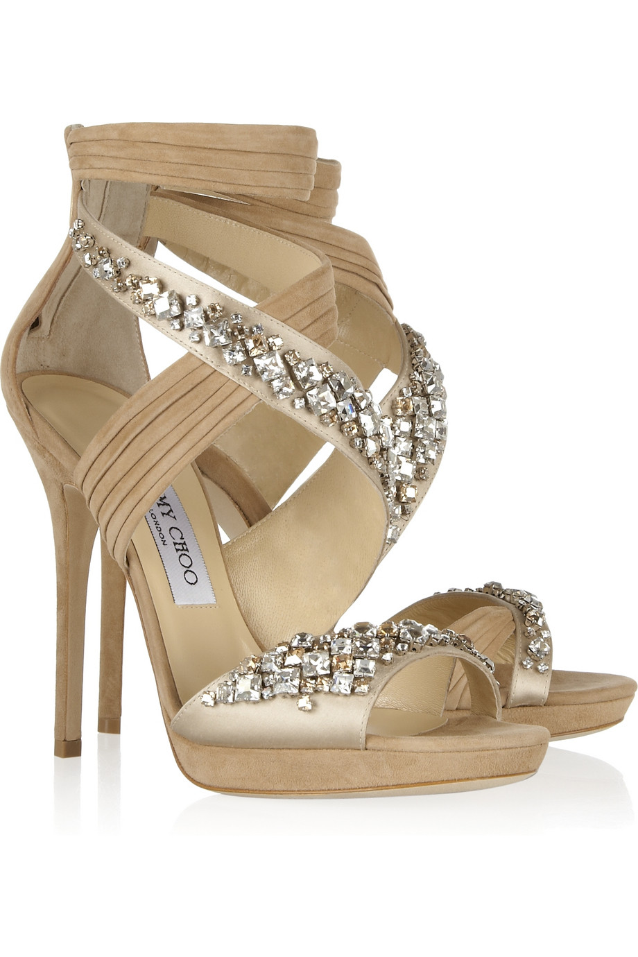 0e2b2de3e2082f Lyst - Jimmy Choo Kani Swarovski Crystalembellished Satin and Suede ...