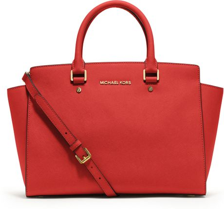 Michael Kors Large Selma Top Zip Satchel in Red - Lyst
