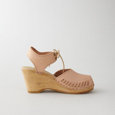 No 6 Peep Toe Moccasin Wedge Sandal In Beige Nude Lyst