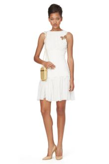 Oscar de la Renta Cap Sleeve Dress W Drop Waist Gathered Skirt - Lyst