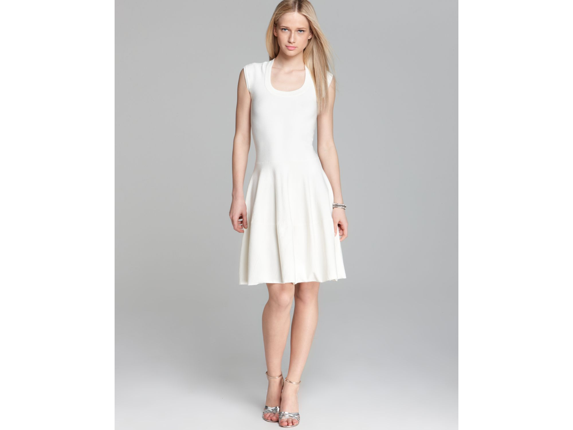 Rebecca taylor Knit Dress Circular in White | Lyst