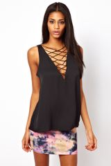 ASOS Collection Asos Vest with Lace Front - Lyst