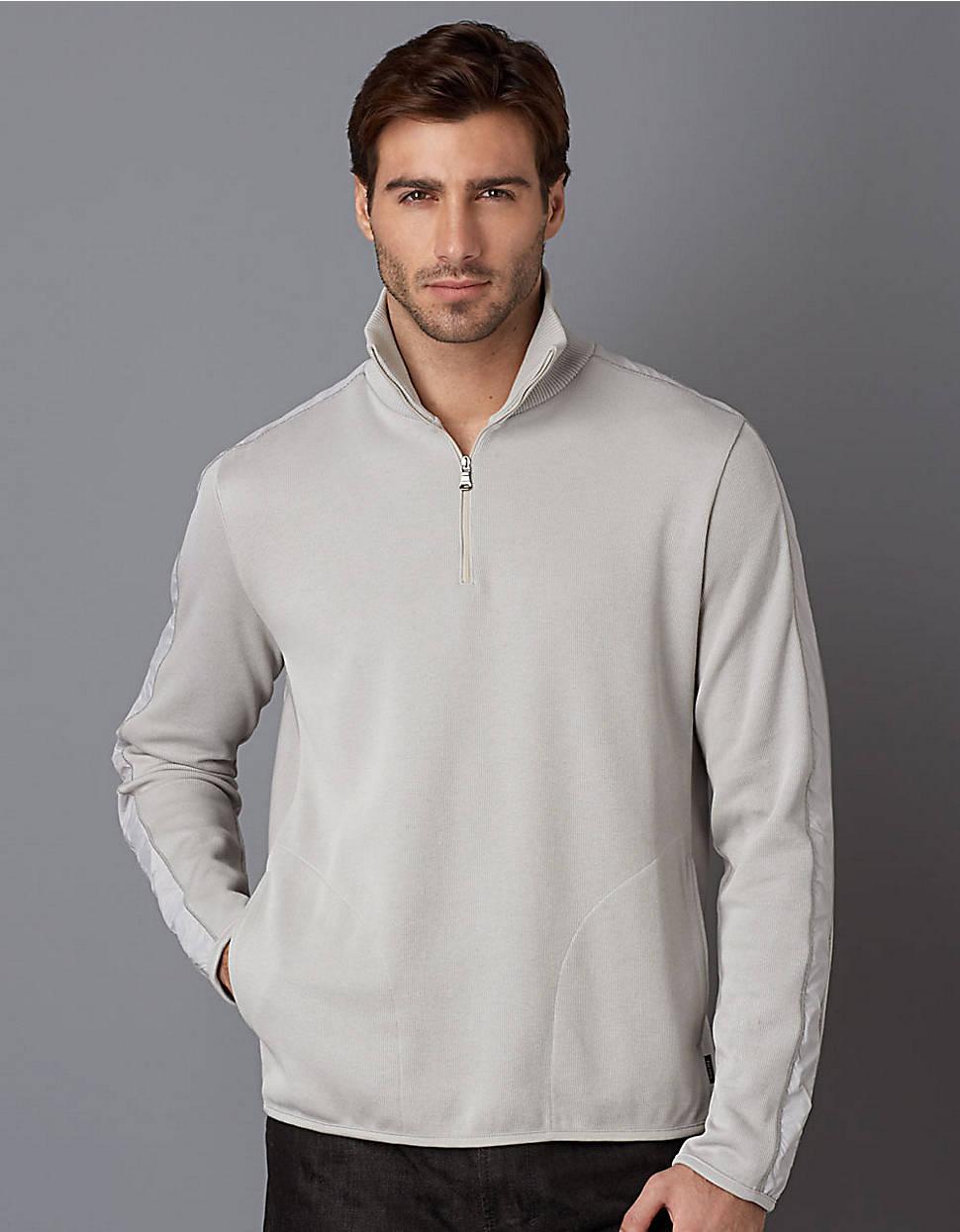 hugo boss 14zip pullover fleece in gray for men grey lyst. Black Bedroom Furniture Sets. Home Design Ideas