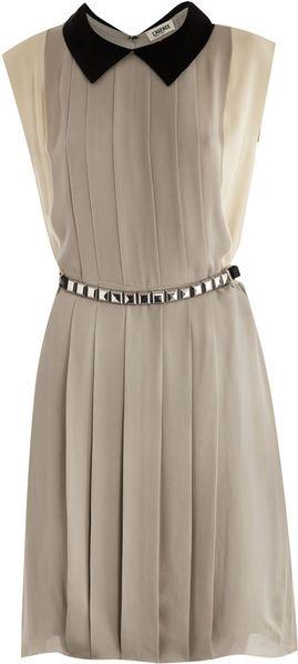 L'Agence Colourblock vestido de seda plissada - Lyst