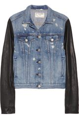 Rag & Bone Leather Sleeved Distressed Denim Jacket - Lyst