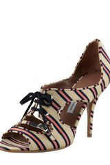 Tabitha Simmons Bertie Laceup Cutout Striped Pumps - Lyst