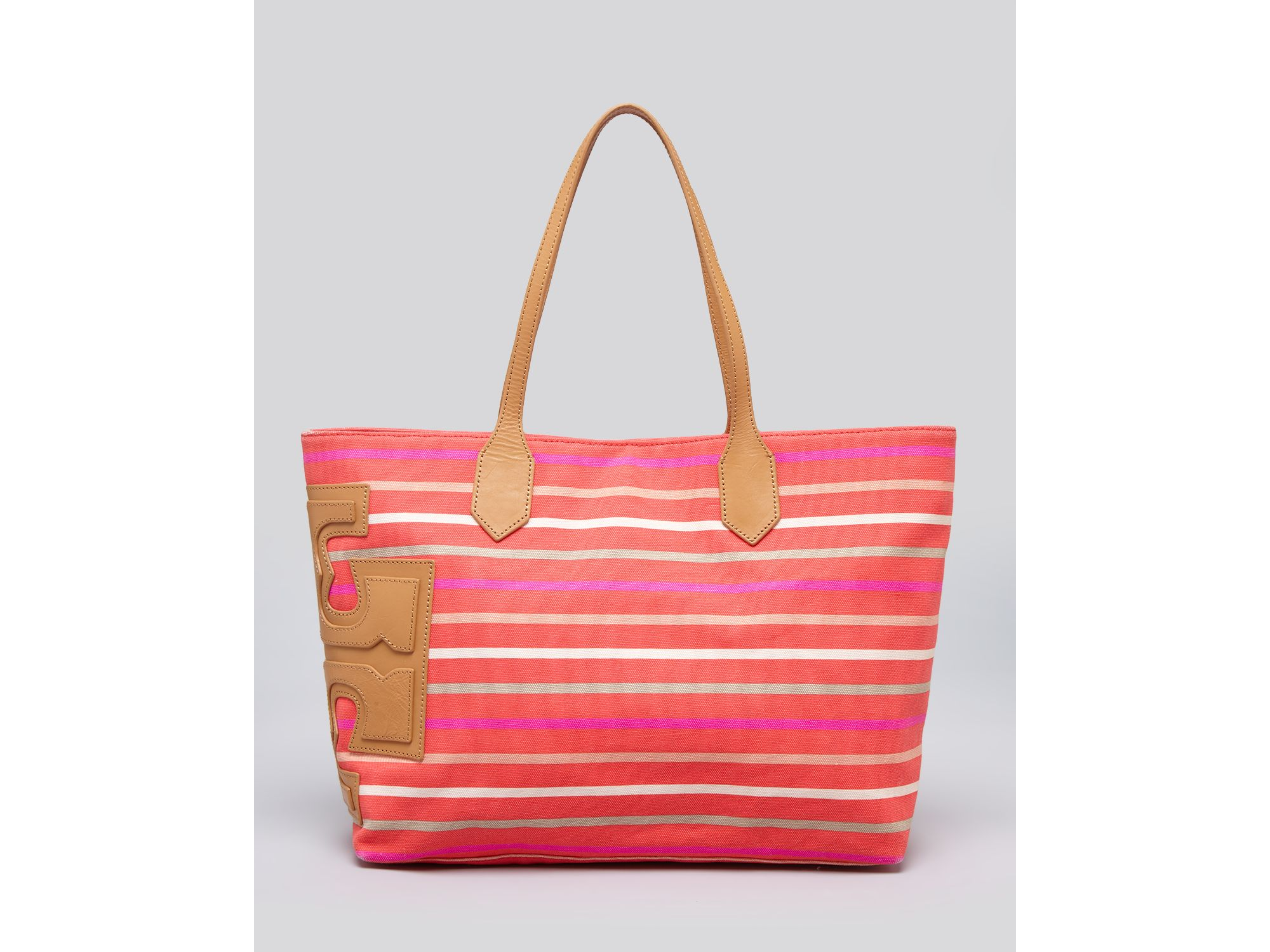 1a439f789482 Lyst - Tory Burch Tote Stacked T East West Classic Stripe in Red