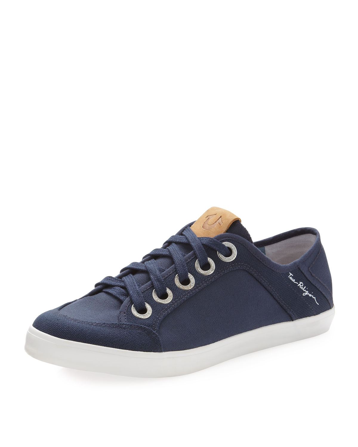true religion eric canvas sneaker in blue for navy