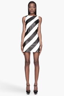 Alice + Olivia Black and White Leather A-Line Paige Dress - Lyst