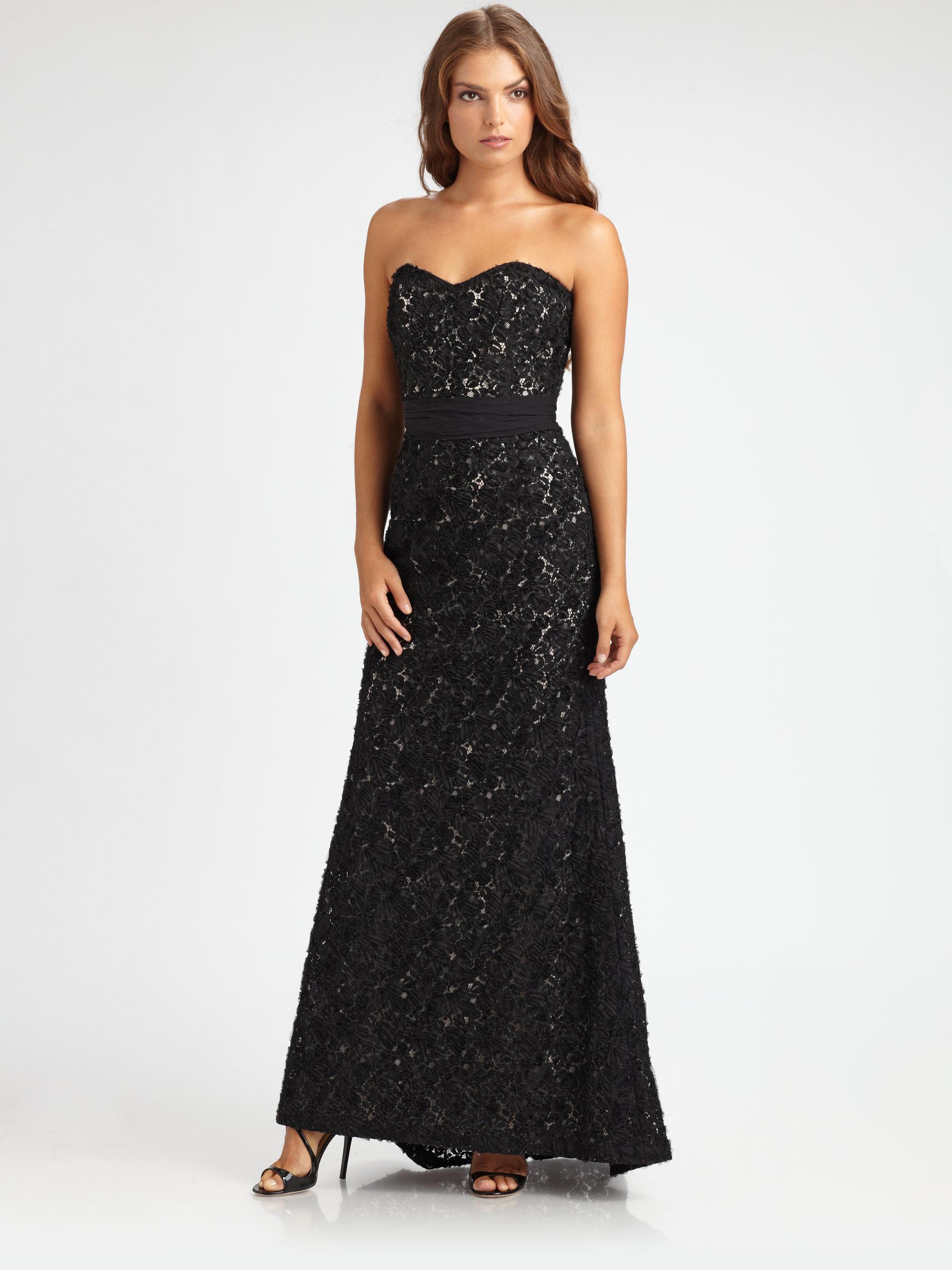Lyst - Badgley Mischka Strapless Lace Gown in Black