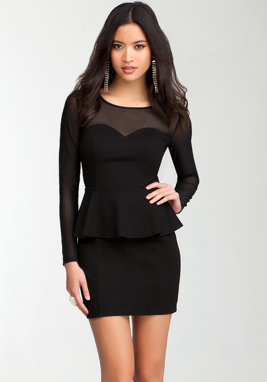 Bebe Sweetheart Peplum Mesh Dress Online Exclusive In