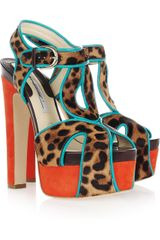 Brian Atwood Brigitte Calf Hair and Suede Platform Sandals - Lyst