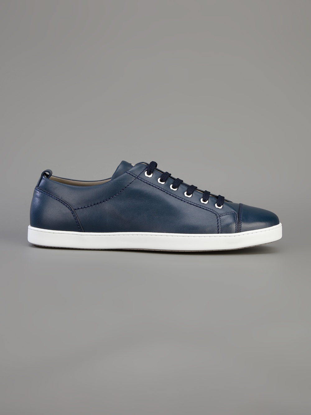 Brioni Leather Lace Up Sneakers In Blue For Men Lyst