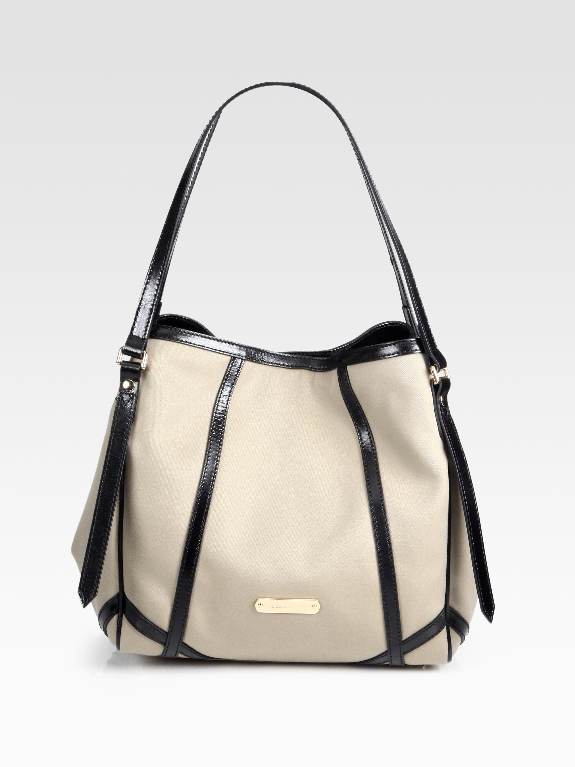 Lyst - Burberry Canterbury Canvas Shoulder Bag in Natural 06c12f18e1a85