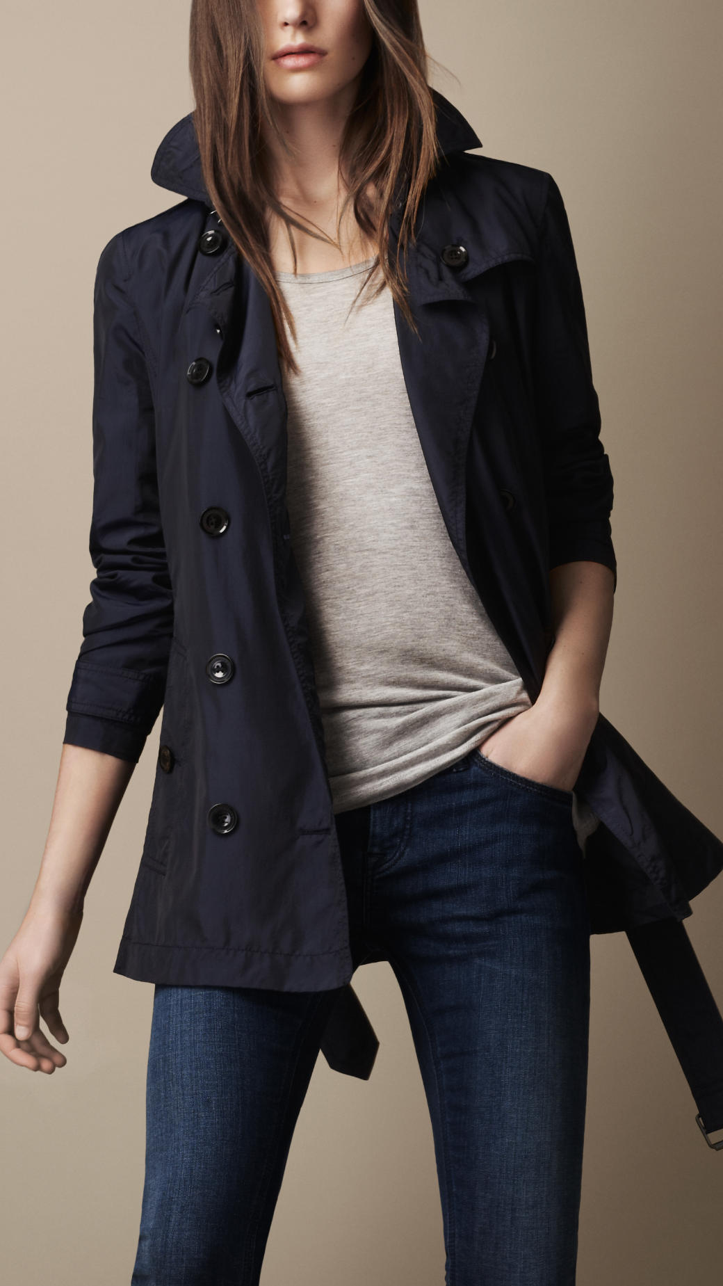 Burberry brit Short Technical Silk Trench Coat in Blue | Lyst