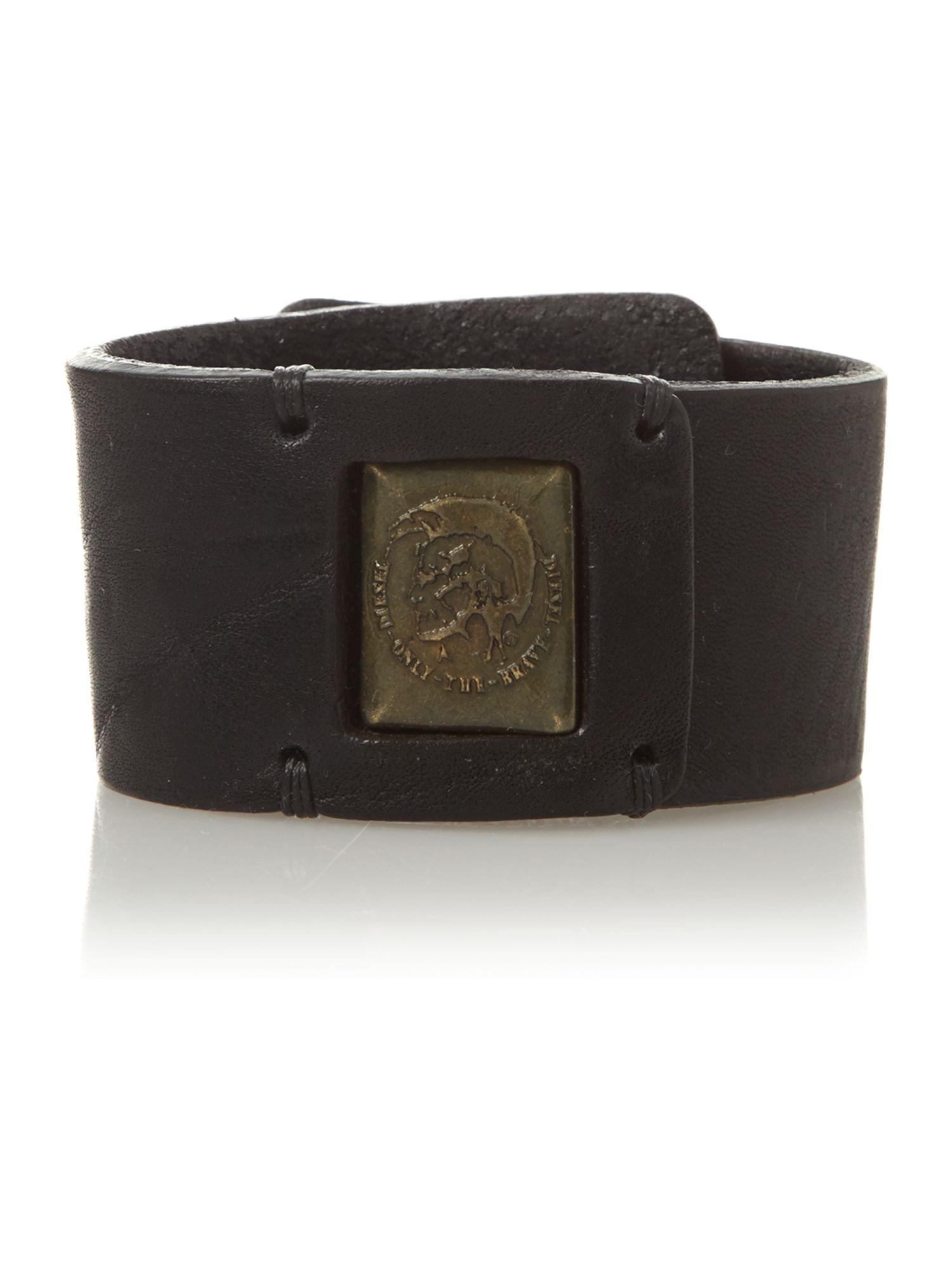 Diesel Engraved Leather Cuff Bracelet In Black For Men Lyst