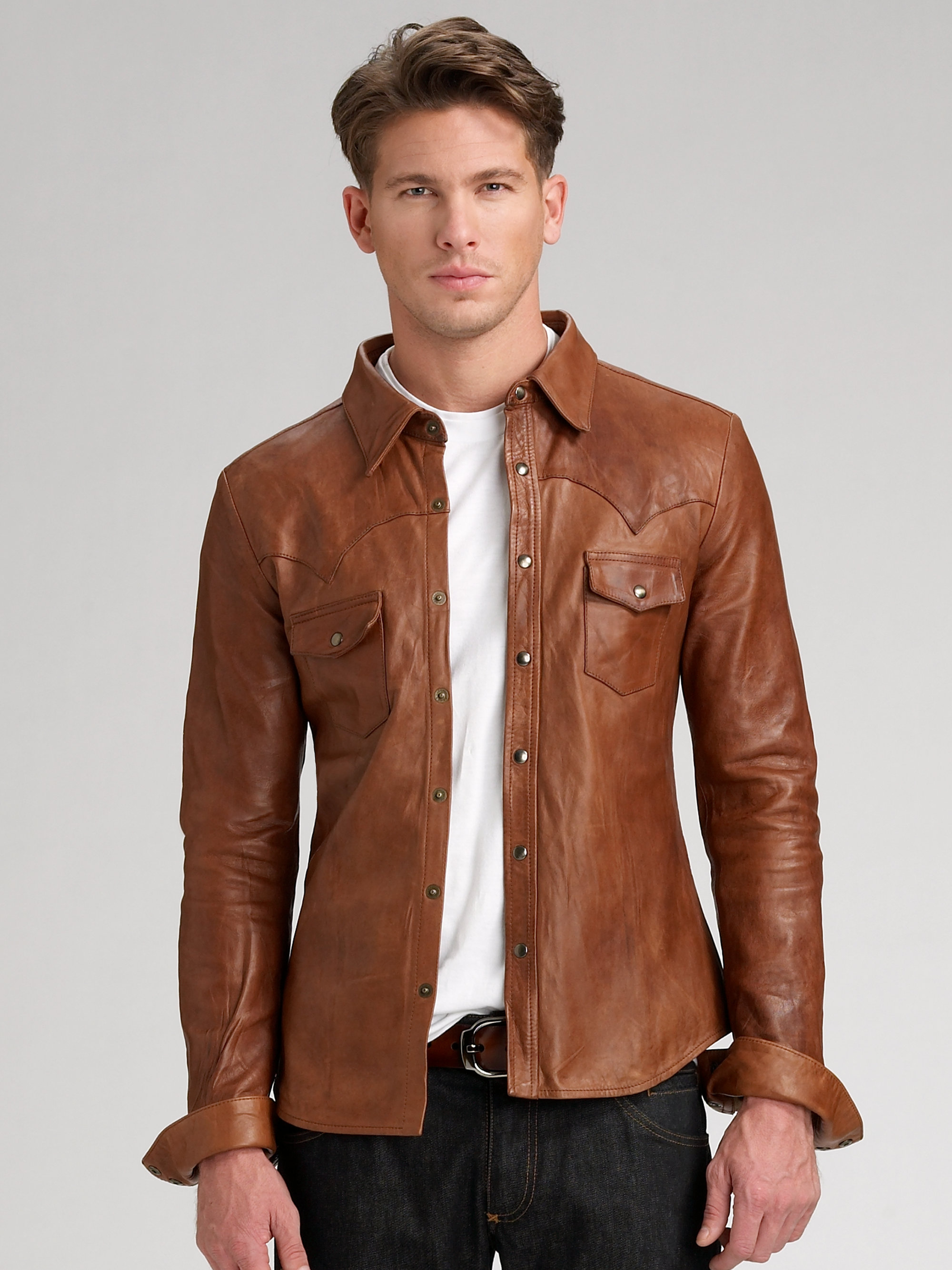 Dolce gabbana leather shirt in brown for men lyst for Mens dress shirts fashion