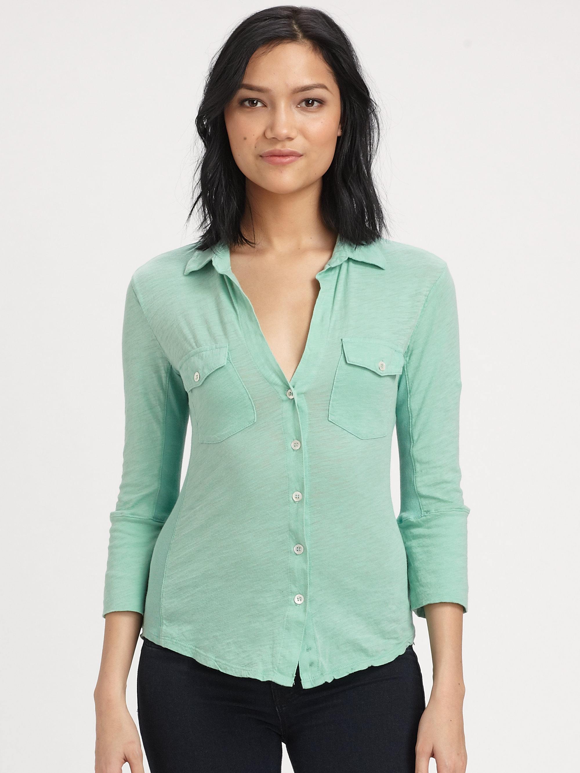james perse contrast panel shirt in green lyst
