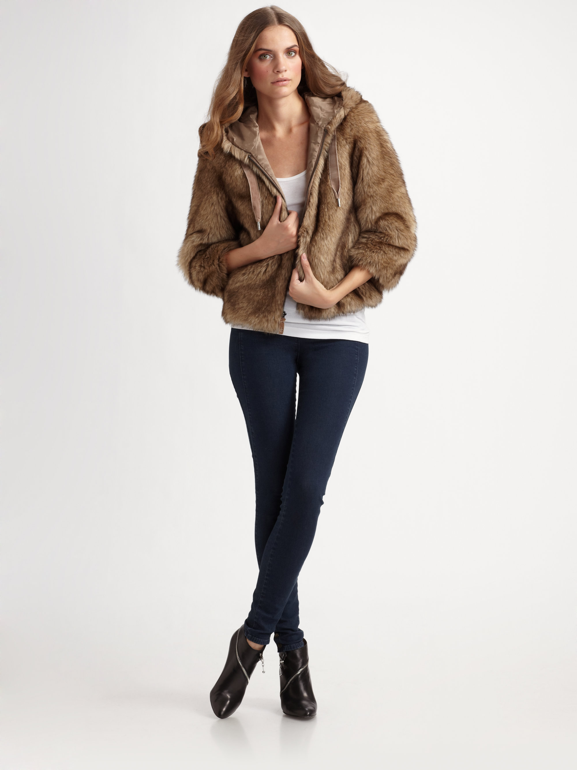 1ba1608b43e5 Juicy Couture Faux Fur Hooded Jacket in Brown - Lyst