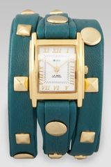 La Mer Collections Studded Wrap Rectangle Watch Teal - Lyst