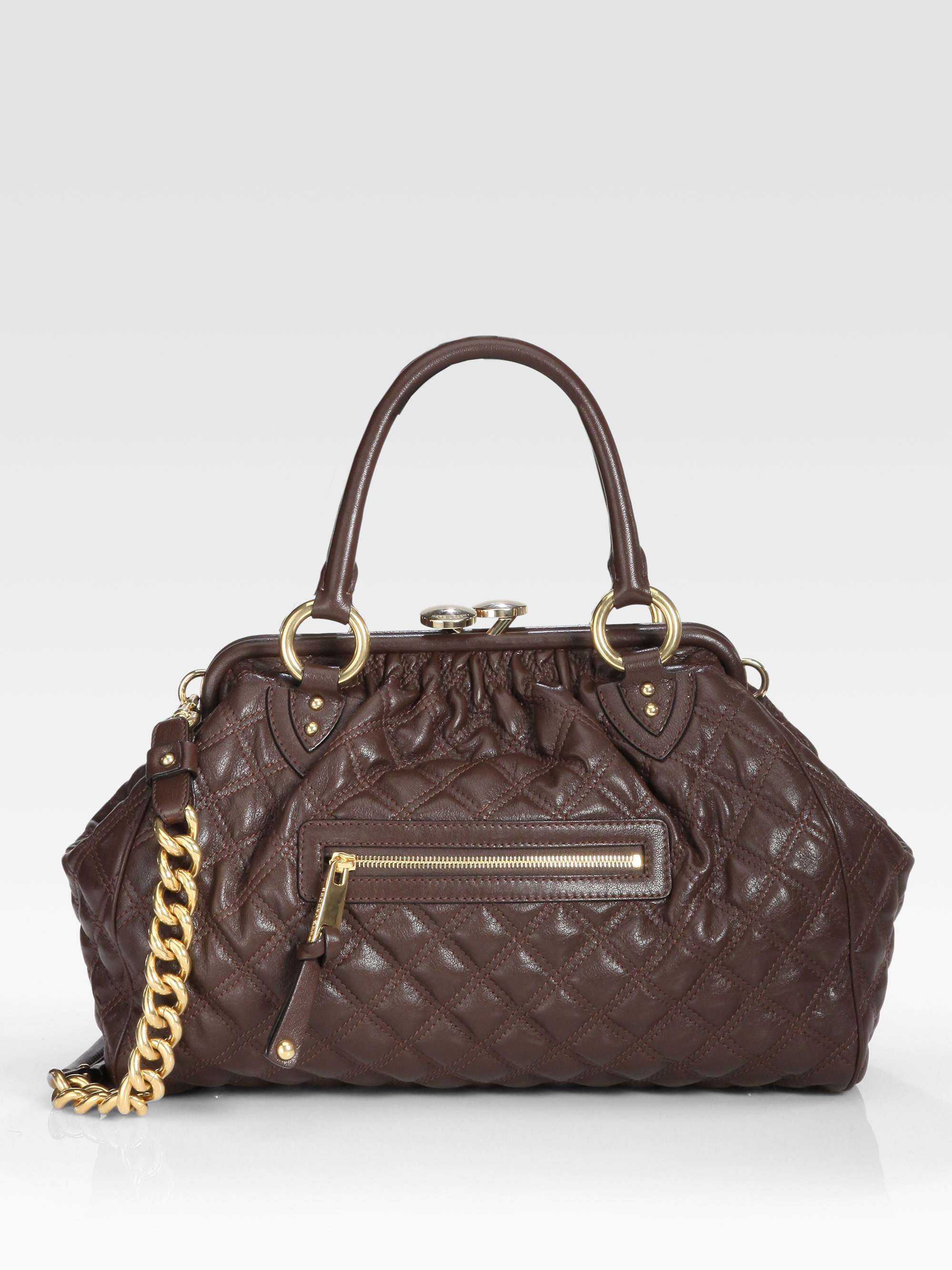 Marc Jacobs Classic Quilted Stam Bag In Brown Dark Brown