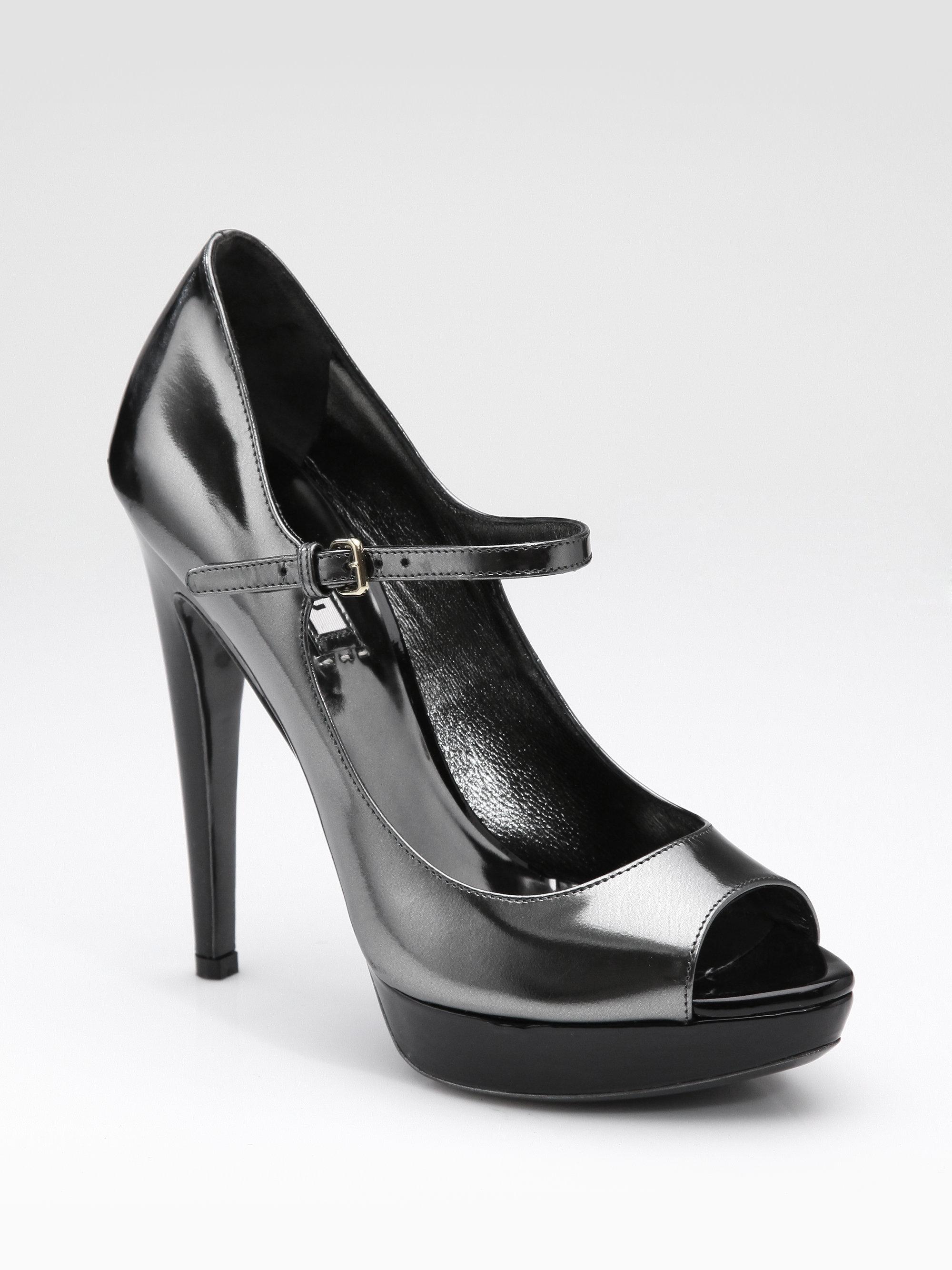 Miu Miu Metallic Patent Mary Jane Pumps in Black (pewter)   Lyst