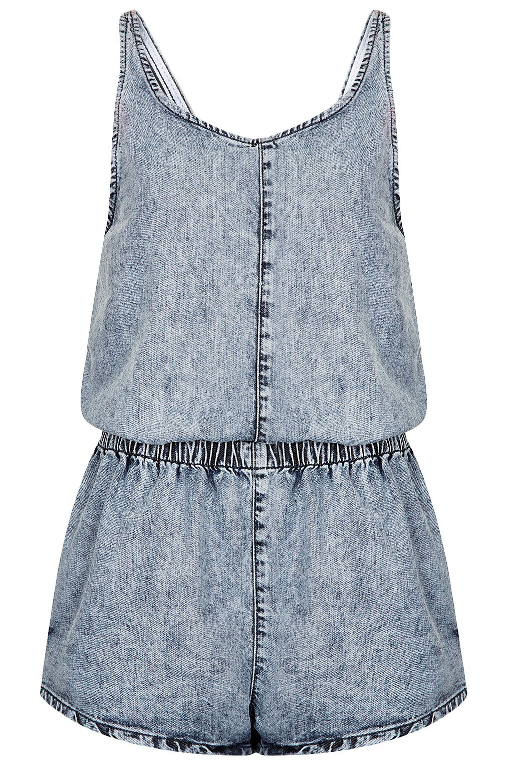 Topshop acid denim playsuit in blue lyst for Womens denim shirts topshop