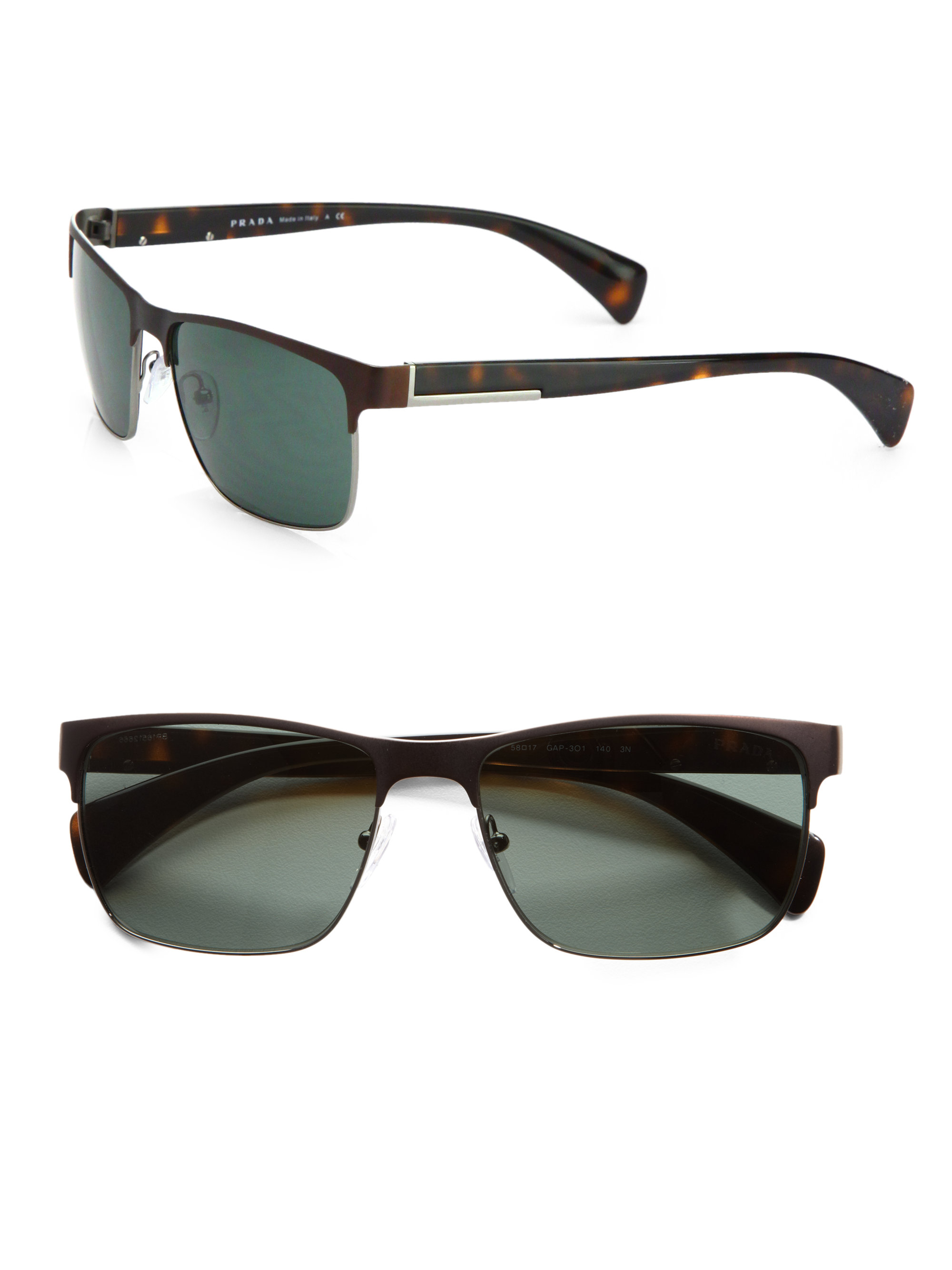 Prada Twotone Square Sunglasses In Brown For Men Lyst