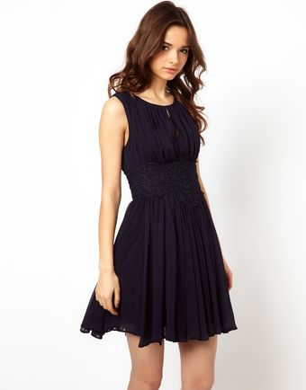 River Island Applique Waisted Dress - Lyst