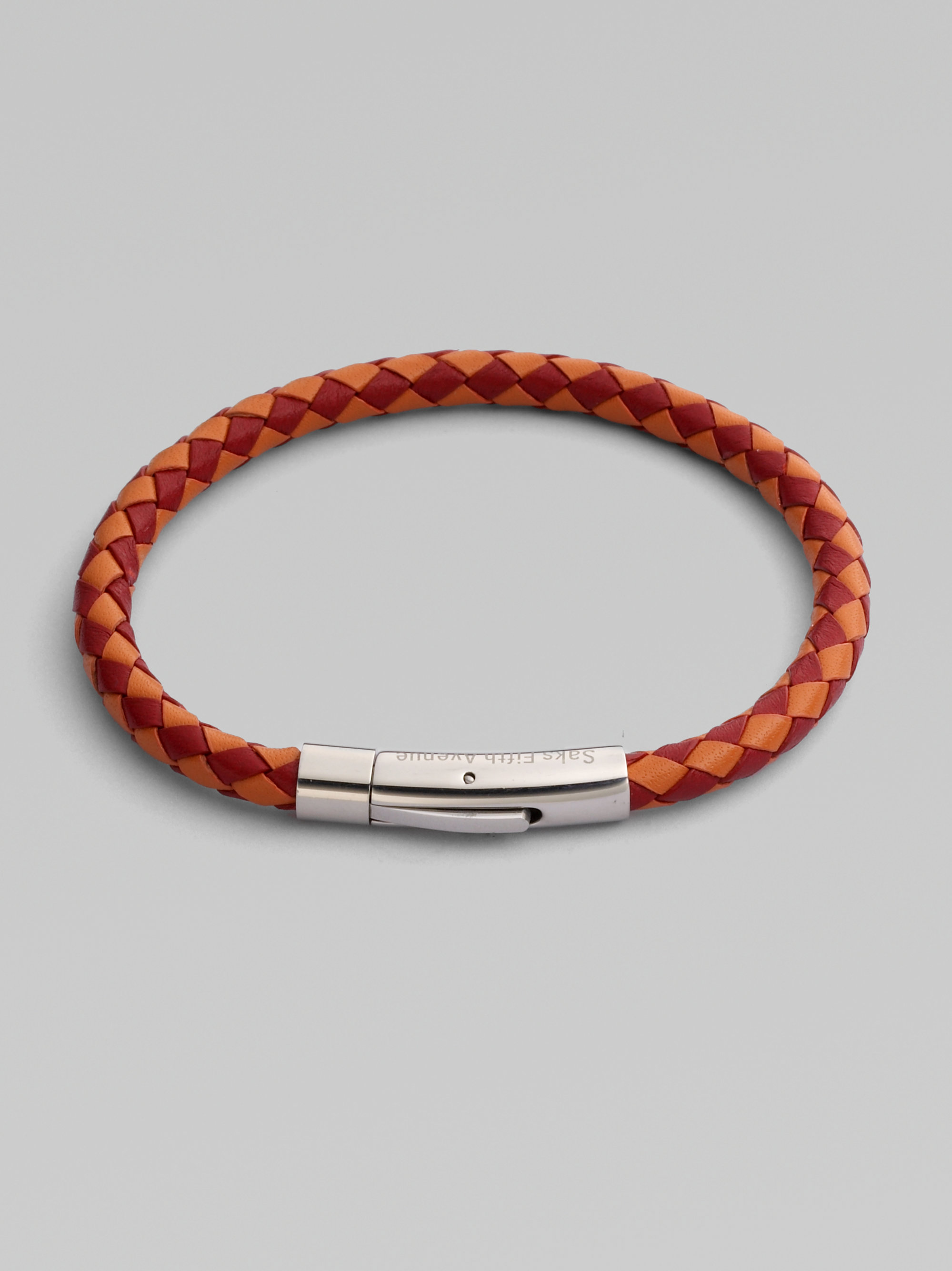 saks fifth avenue leather bracelet in brown for men red